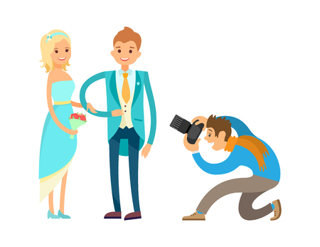 Ceremony of engagement, happy newlywed couple husband and wife isolated. Professional photographer takes photos of romantic bride and groom vector Illustration