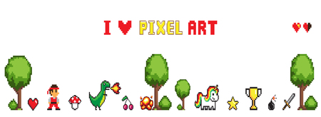 Collection of characters man and dragon, heart and star, cup and sword, unicorn and bomb near trees and bushes. Pixel art isolated on white vector