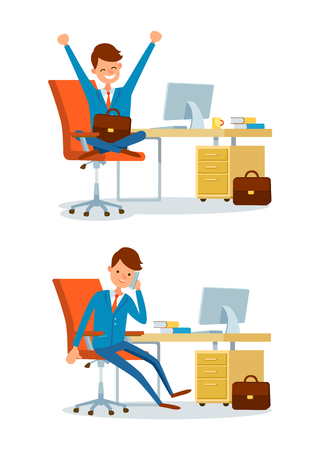 Business person, people at office working by desk vector. Director talking on phone discussing issues, ceo sitting by table, with briefcase in hands Illustration