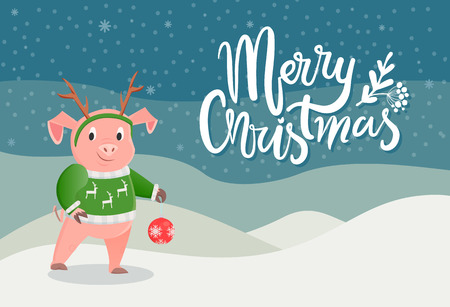 Merry Christmas postcard with pig in green sweater with reindeer and horns on head, ball toy in paws on winter scenery landscape. Card with piglet in snow, vector Illustration