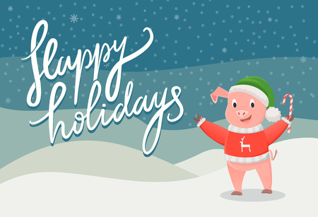 Happy holidays postcard with the symbol of 2019 piggy. Smiling pig in red jersey with deer, in green Santa hat, holding candy on snowfall outdoor vector Illusztráció