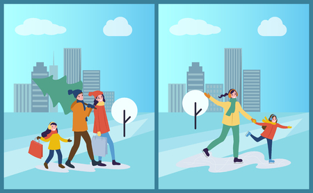 Ice skating of mother and daughter, winter activity vector. Family day, preparation for Christmas holiday, father carrying pine tree bought on market