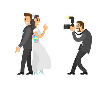 Photographer taking photo of newlywed with digital camera that has flashlight. Groom and bride posing for photography vector illustration isolated.