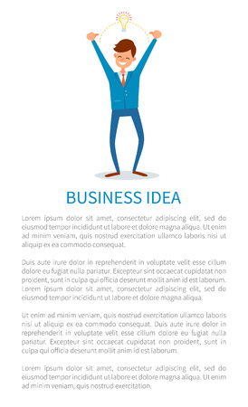 Business idea and answers, man with innovative solution for business, creative chief flat vector. Eureka genius businessman with electric bulb, creative manager