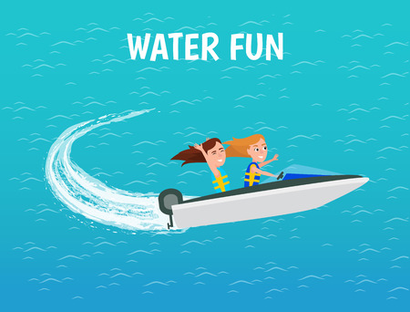 Water fun girls riding motor boat poster with text vector. Female people in ship going with fast speed driving on sea surface. Entertainment and rest