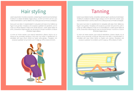 Woman hair styling and tanning in spa salon. Hairdresser making haircut and woman sunbathing by ultraviolet radiation to produce cosmetic tan vector