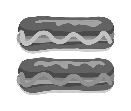 Hot dogs collection with sauce mustard or ketchup, product made of bun and sausage, food dishes vector illustrations set isolated black on white background. Illustration