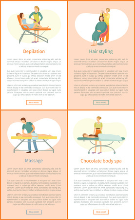 Wax depilation and hair styling, back massage and chocolate body spa specialist in uniform. Procedure in beauty salon cartoon vector banner sample set