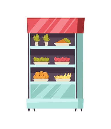 Food stall stand with fresh vegetables fruits isolated icon vector. Apples and bananas, vegetarian meal, raw, nutritious products, orange and carrot