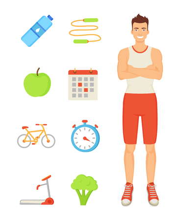 Man sportive person isolated icons. Smiling slim muscular guy with apple and bottle with water. Jumping rope, broccoli and timer for trainings vector
