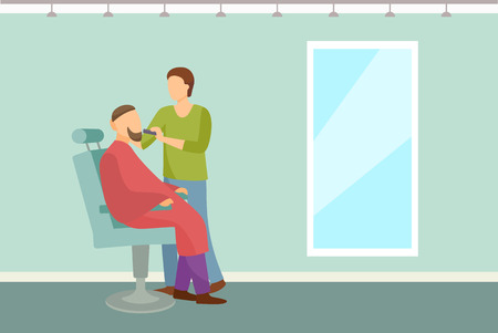 Barber shop poster hairdresser cutting or shaving beard to man in armchair vector. Hipster man spa salon for hair styling with big mirror on wall