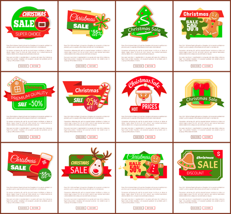Christmas sale hot price cost reduction cookies and text vector. Santa Claus and present with bows decoration, gift and belt, reindeer and house, reduced cost