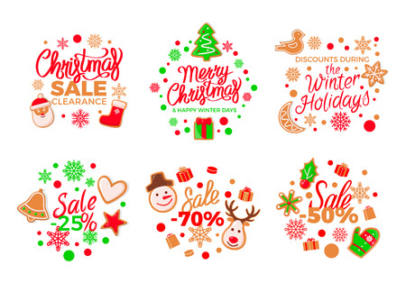 Cookie made of gingerbread pine and presents set vector. Christmas sale and discounts offers for shops, reindeer and Santa Claus mitten and bird isolated