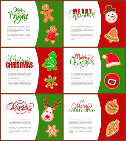 Gingerbread man Santa Claus and pine tree posters with text sample. Snowman and bell, spruce and belt hat, reindeer and cone bauble toy decoration Vector Illustration