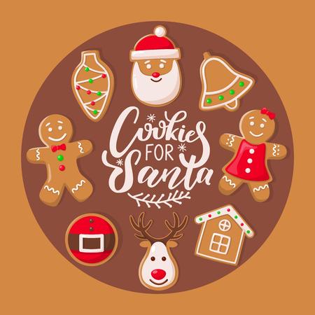 Cookie pour l'affiche du Père Noël avec le vecteur de bonbons de Noël. Célébration des vacances d'hiver, ceintures et maisons, cloches et maison, forme de cône de personnage de renne