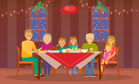 Christmas dinner at home celebration of people vector. Mother and father, children and grandchildren, decorated interior with garlands and light lamps
