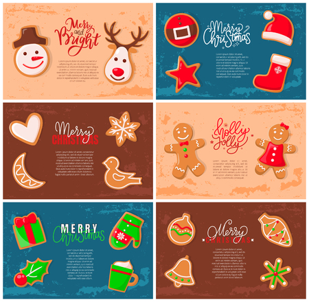 Holly jolly gingerbread man cookie presents set vector. Bird and heart, Santa Claus and snowflake reindeer snowman and mistletoe gift mitten and cone