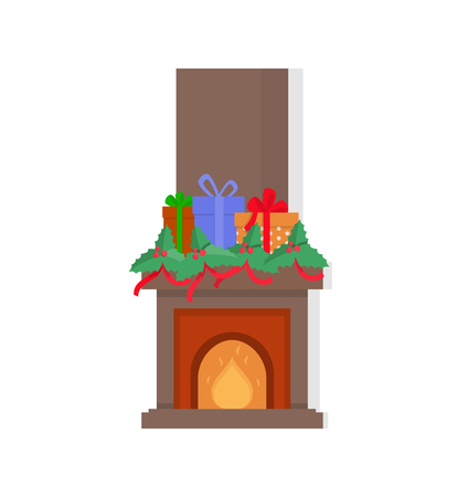 Chimney with presents on top fireplace isolated icon vector. Gifts and ribbons decorating stone construction with burning fire, mistletoe and bows Illustration