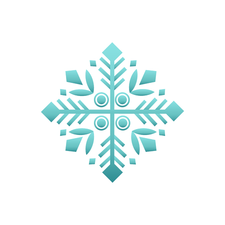Snowflake decorative winter element vector isolated icon. Wintertime figure in white and blue, snow of flake in flat style, New Year and Christmas decor sign
