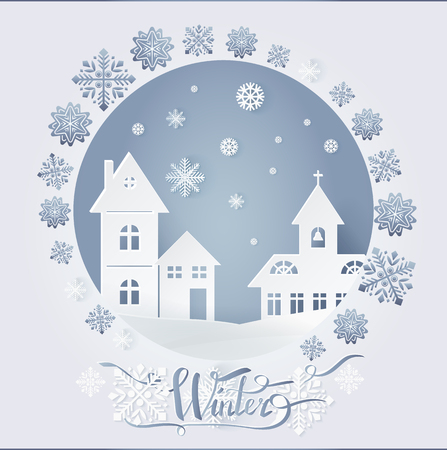 Chimney with bells and dwelling with windows on snowy ground at night vector. Winter nature, falling snow, card decorated by snowflakes on white landscape, paper art and craft style