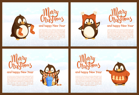 Standing penguins in warm jersey and scarf with hat, sitting with gift box, holding socks. Set of greeting cards Merry Christmas and Happy New Year vector