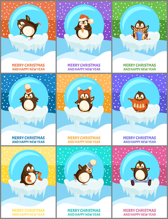 Merry Christmas happy New Year posters set with text sample vector. Penguin wearing Santa Claus hat, wild animal from pole, snowing weather snowfall Illustration