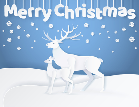 White Deer and fawn standing on snowy ground at night. Hanging down Merry Christmas greeting decorated with snowflakes and animals in flat style vector, paper art and craft style