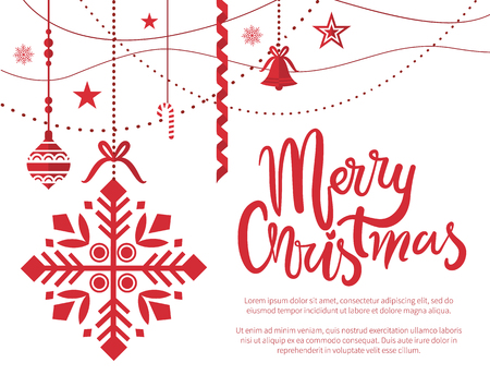 Merry Christmas poster with text sample baubles decoration vector. Ball with ornaments hanging on threads, bells and stars winter holiday celebration Ilustração