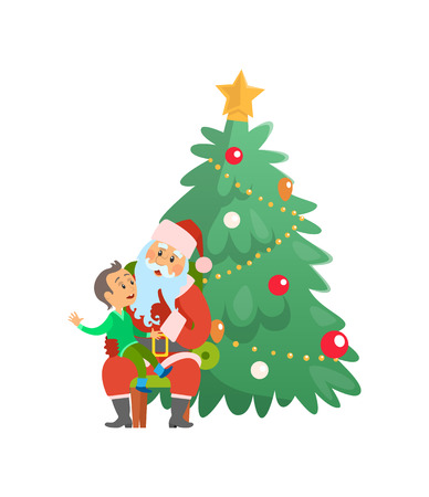 Christmas holiday Santa Claus and small boy sitting on lap vector. Winter holidays celebrated by evergreen pine tree decorated with star and baubles Çizim