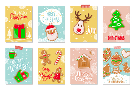 Merry Christmas winter holiday greeting cookies vector. Gingerbread biscuit in shape of pine, reindeer and mitten, house and bauble, bird and heart Standard-Bild - 116035420
