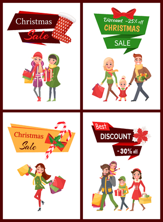 Christmas sale and discounts shopping preparation vector. Happy New Year, family mother and father walking with child and packages, lady with bags, flat style