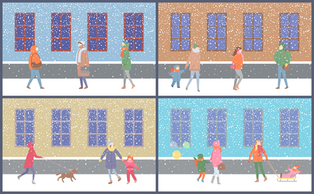 Wintertime mother and kid sitting on sledges set vector. Street with snowy weather snowfall and people walking resting city with buildings and snow