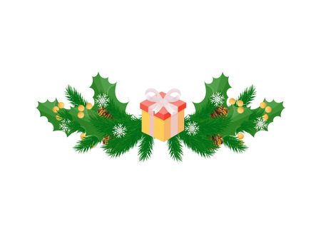 Winter holidays decoration with mistletoe leaves, holly berries and wrapped present gift box vector isolated icon. Spruce and cones, snowflakes on white
