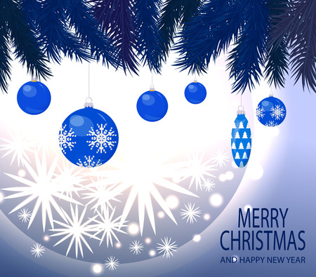Merry Christmas and happy New Year celebration poster with text sample vector. Baubles with snowflakes print, cone and pine tree spruce branches twigs Ilustração
