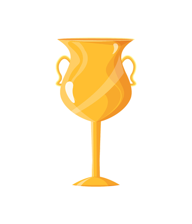 Award golden cup closeup of icon with handles. Victory shining prize for competition. Approval and triumph of winner isolated on vector illustration