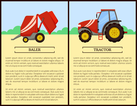 Baler and tractor machines posters. Vehicle for driving and transporting things, agricultural machinery. Mechanized working on farm, farming auto vector Foto de archivo - 125812932