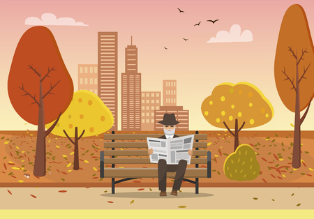 Old man with newspaper in hands sitting on bench in autumn city park vector. Skyscrapers and building infrastructure, trees with leaves falling down Stock Illustratie