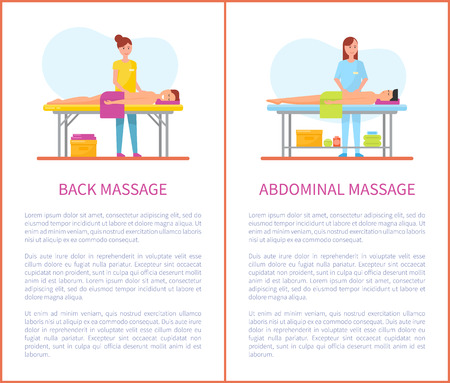 Back and abdominal care massage posters with text sample vector. Treatment and therapy done by masseuses, man lying on table with towel and relaxing Standard-Bild - 125812942