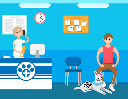 Veterinary receptionist, man with dog in clinic waiting appointment vector. Medical treatment care, pets recovery and examination in hospital by vet