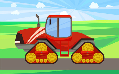Big tractor on land, machine vector. Truck with gears and wheels working on field. Farming agricultural machinery, automobile equipment on ground