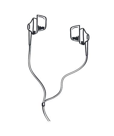 Headphones music listening headset monochrome sketch outline vector line art. Icon of earphones with cable sounds and melody coming out from portable accessory Illustration