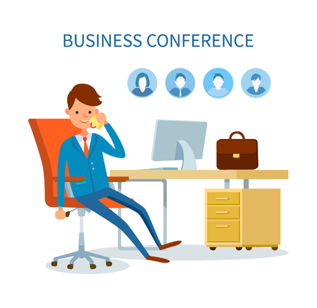 Business conference man talking on phone icons vector. Profiles of clients, customers base of boss. Employer businessman discussing issues on cell Banque d'images - 125812961