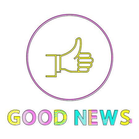 Color notification icon of successful outcome, good news report with thumps-up depiction in minimalistic outline style with cutline on white backdrop. Çizim