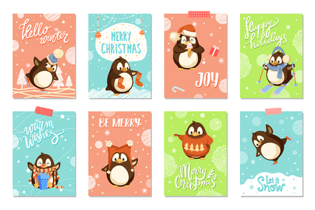 Merry Christmas penguin wearing Santa Claus hat vector. Poster with greeting text, celebrating winter holiday animal opening present from box gift