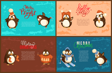 Merry Christmas penguin with scarf skiing character vector. Poster with animal wearing warm clothes. Celebration of winter holiday xmas preparation