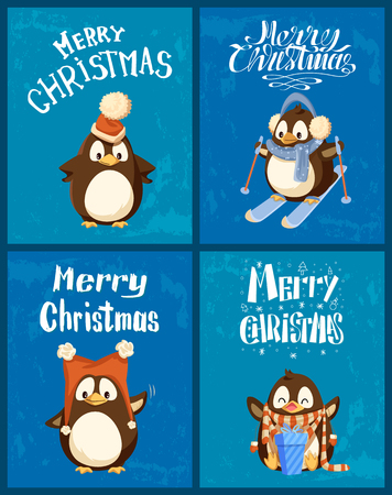 Merry Christmas and happy New Year penguins posters set vector. Animal wearing warm clothes, hat and scarf, present with ribbons and bows wrapping Illustration