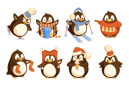 Penguin in winter wearing warm clothes vector north birds. Animal with wings in knitted sweater with pine tree having fun, skiing hobby active, stockings and skate