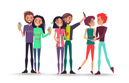 Portrait of lovely young couples on white background vector illustration. Smiling girls and boys holds ice cream, makes selfie, admire each other