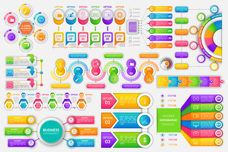 Infographics and infocharts financial strategy set of icons vector. Circles steps and options wallet with money finance idea schemes visualization info chart, graphic flat style Illustration