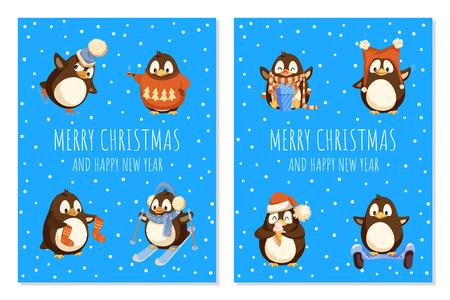 Joyeux Noël pingouin portant le vecteur de chandail tricoté.